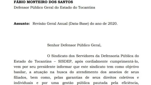 SISDEP oficia Defensor Público-Geral para envio de Projeto de Lei para concessão da data-base 2020.