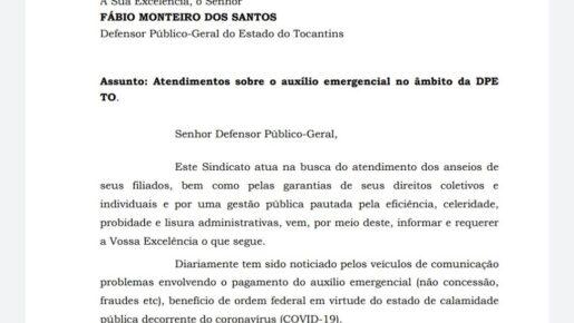 SISDEP oficia Defensor Público-Geral acerca de decisão do Conselho Superior sobre atendimentos envolvendo auxílio emergencial no âmbito da DPE TO.