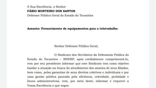 SISDEP oficia Defensor Público-Geral para o fornecimento de equipamentos para o teletrabalho.