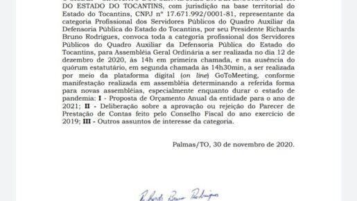 EDITAL DE CONVOCAÇÃO ASSEMBLEIA GERAL ORDINÁRIA – 12/12/20